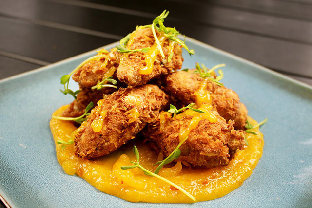 Coconut Breaded Chicken Wings with Mango Chili Glaze