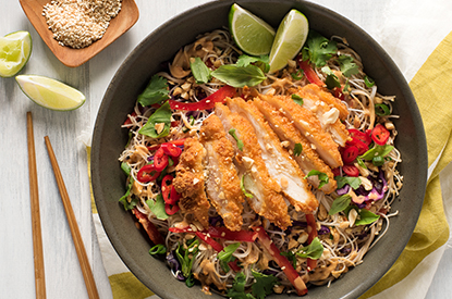 Crispy Chicken Thai Noodle Salad with Peanut Lime Dressing