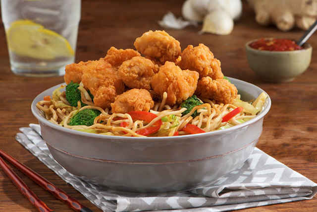 Karaage and Noodle Stir-Fry
