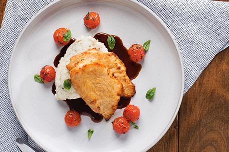 Basil Mashed Potatoes with Chicken & Cherry Tomatoes